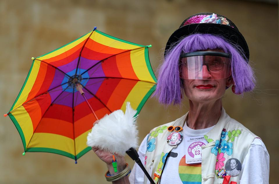 A demonstrator takes part in the Gay Liberation Front (GLF) pride march in London, Britain, June 27, 2020.