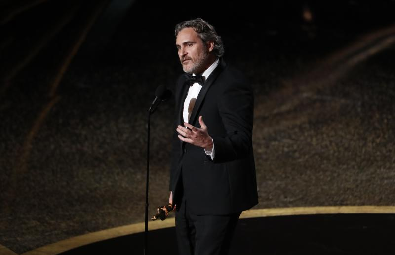 "Joaquin Phoenix wins the Oscar for Best Actor in ""Joker"" at the 92nd Academy Awards in Hollywood, Los Angeles, California, U.S., February 9, 2020. REUTERS/Mario Anzuoni"