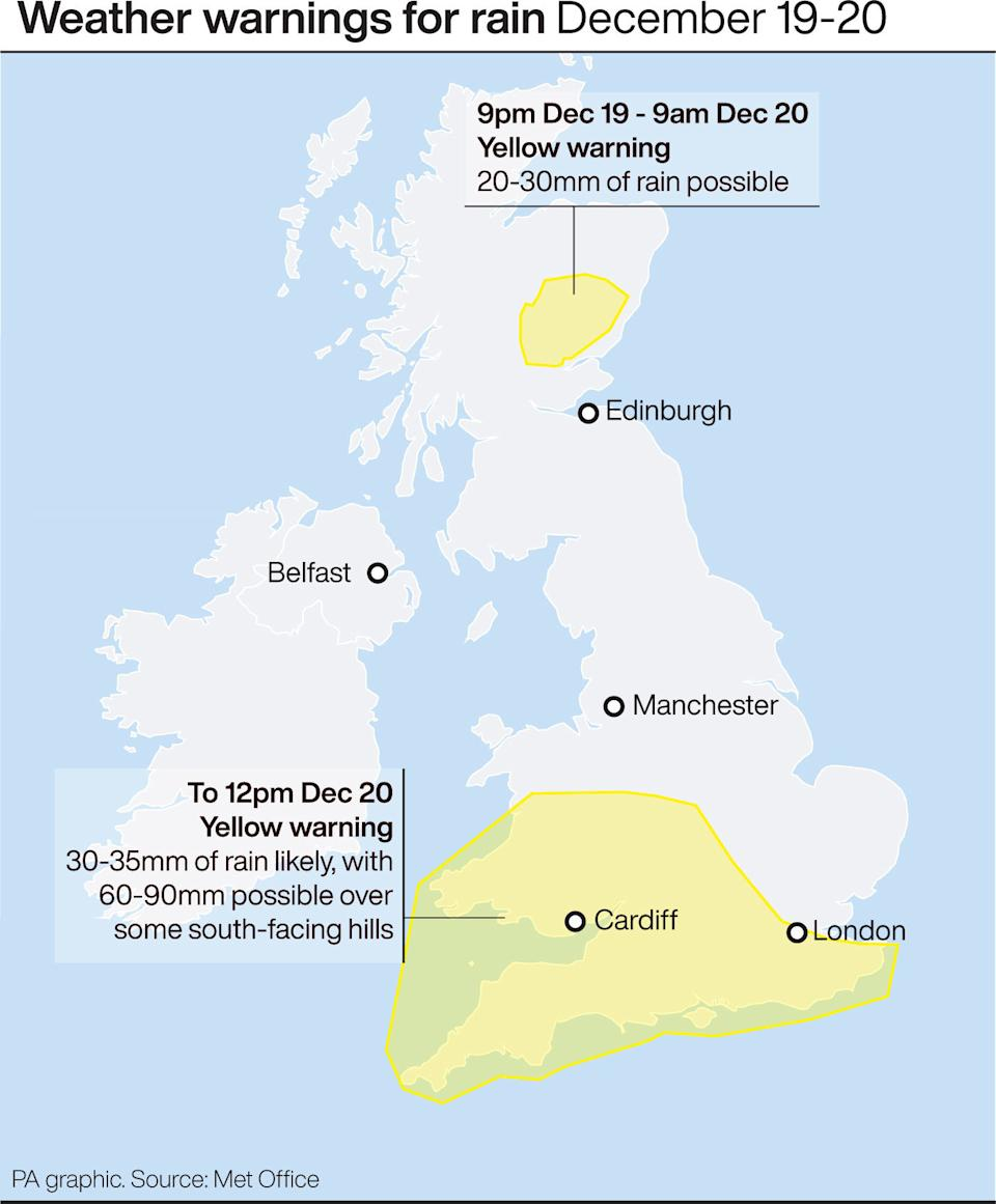 Weather warnings for rain. See story WEATHER Rain. Infographic PA Graphics
