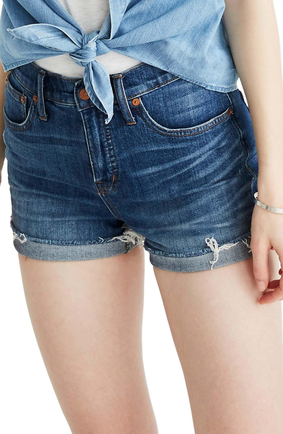 "<p>It doesn't get more iconic than these <a href=""https://www.popsugar.com/buy/Madewell-High-Rise-Cuffed-Denim-Shorts-430428?p_name=Madewell%20High%20Rise%20Cuffed%20Denim%20Shorts&retailer=shop.nordstrom.com&pid=430428&price=70&evar1=fab%3Aus&evar9=45988379&evar98=https%3A%2F%2Fwww.popsugar.com%2Ffashion%2Fphoto-gallery%2F45988379%2Fimage%2F45988392%2FMadewell-High-Rise-Cuffed-Denim-Shorts&list1=shopping%2Cdenim%2Cshorts%2Csummer%2Cdenim%20shorts%2Csummer%20fashion&prop13=mobile&pdata=1"" class=""link rapid-noclick-resp"" rel=""nofollow noopener"" target=""_blank"" data-ylk=""slk:Madewell High Rise Cuffed Denim Shorts"">Madewell High Rise Cuffed Denim Shorts</a> ($70).</p>"