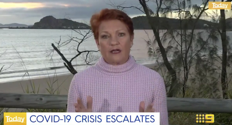Pictured is Pauline Hanson talking to the Today show about coronavirus.