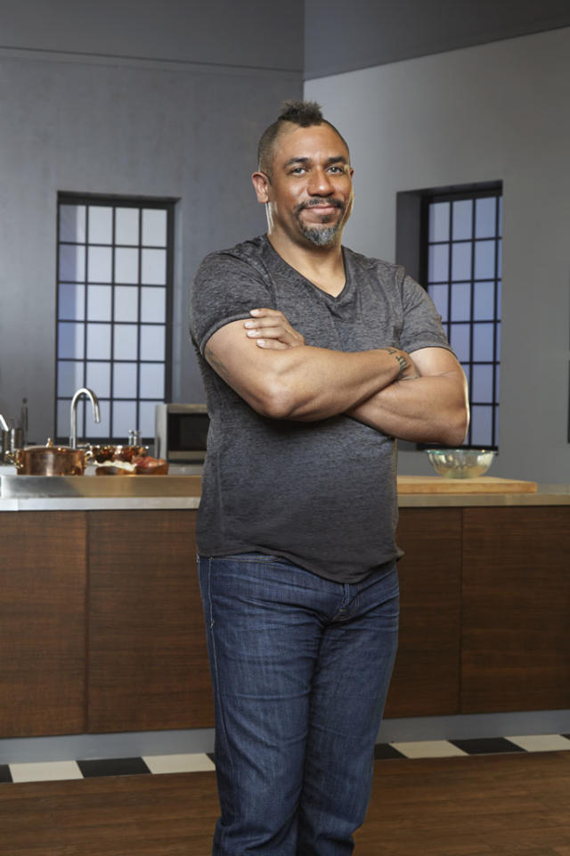 Russell Jackson, 49 (San Francisco), takes risks in and out of the kitchen. Recognized most recently for his underground supper club in San Francisco, Russell takes local, fresh ingredients and gives them a whimsical twist - creating food that's anything but ordinary. After graduating from the California Culinary Academy, he dove into the culinary scene in Los Angeles and later in San Francisco owning and running restaurants for more than ten years. Russell began cooking at three-years-old with applesauce as his first dish and since then, the kitchen has been home to this mohawked chef.