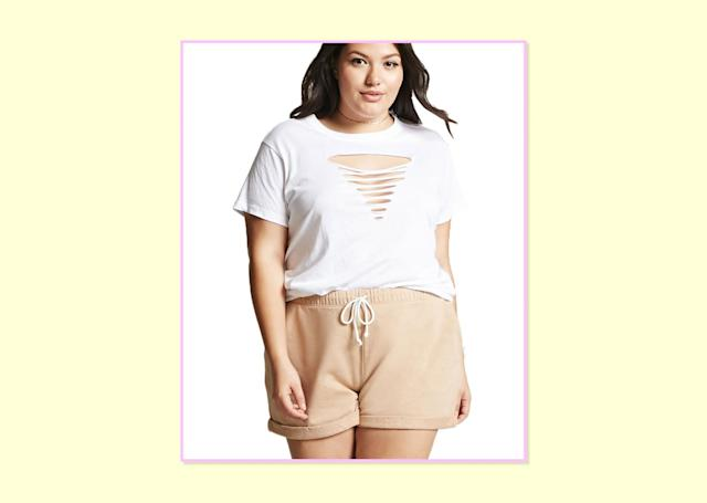 "<p>$15, <a href=""http://www.forever21.com/Product/Product.aspx?BR=plus&Category=plus_size-bottom-shorts&ProductID=2000225575&VariantID="" rel=""nofollow noopener"" target=""_blank"" data-ylk=""slk:Forever 21"" class=""link rapid-noclick-resp"">Forever 21</a> </p>"