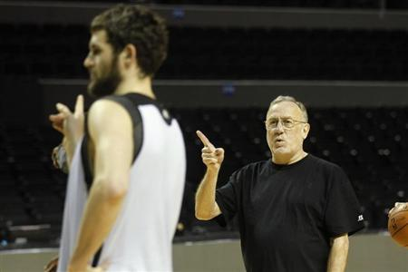 Minnesota Timberwolves head coach Rick Adelman gestures during a practice session in Mexico City