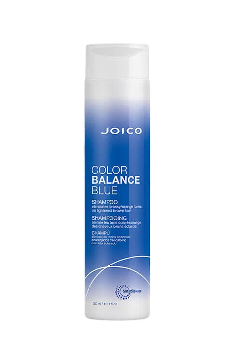 "<p><strong>Joico</strong></p><p>ulta.com</p><p><strong>$19.00</strong></p><p><a href=""https://go.redirectingat.com?id=74968X1596630&url=https%3A%2F%2Fwww.ulta.com%2Fcolor-balance-blue-shampoo%3FproductId%3Dpimprod2021420&sref=https%3A%2F%2Fwww.marieclaire.com%2Fbeauty%2Fhair%2Fg35970445%2Fbest-blue-shampoo-for-brunettes%2F"" rel=""nofollow noopener"" target=""_blank"" data-ylk=""slk:SHOP IT"" class=""link rapid-noclick-resp"">SHOP IT</a></p><p>Incorporate this creamy lather into your cleansing routine once or twice a week, and expect pitch-perfect color (and enhanced shine and gloss thanks to rosa canina fruit oil) for at least twelve weeks.</p>"