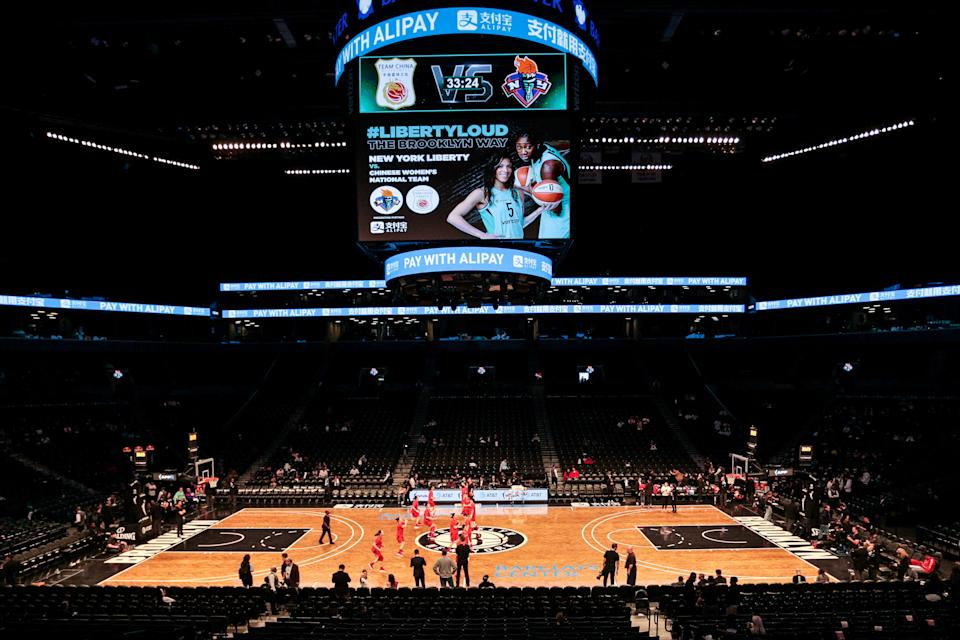 May 9, 2019; New York City, NY, USA; The China National Team warms up before a preseason WNBA game against the New York Liberty at Barclays Center.  Mandatory Credit: Vincent Carchietta-USA TODAY Sports