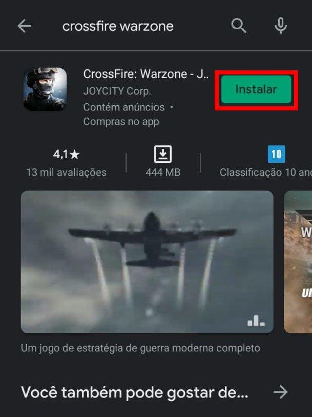 Acesse a Play Store ou a App Store e efetue o download do CrossFire Warzone (Captura de tela: Matheus Bigogno)