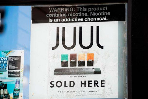 PHOTO: A sign advertises Juul vaping products in Los Angeles, California, September 17, 2019. (Robyn Beck/AFP/Getty Images)
