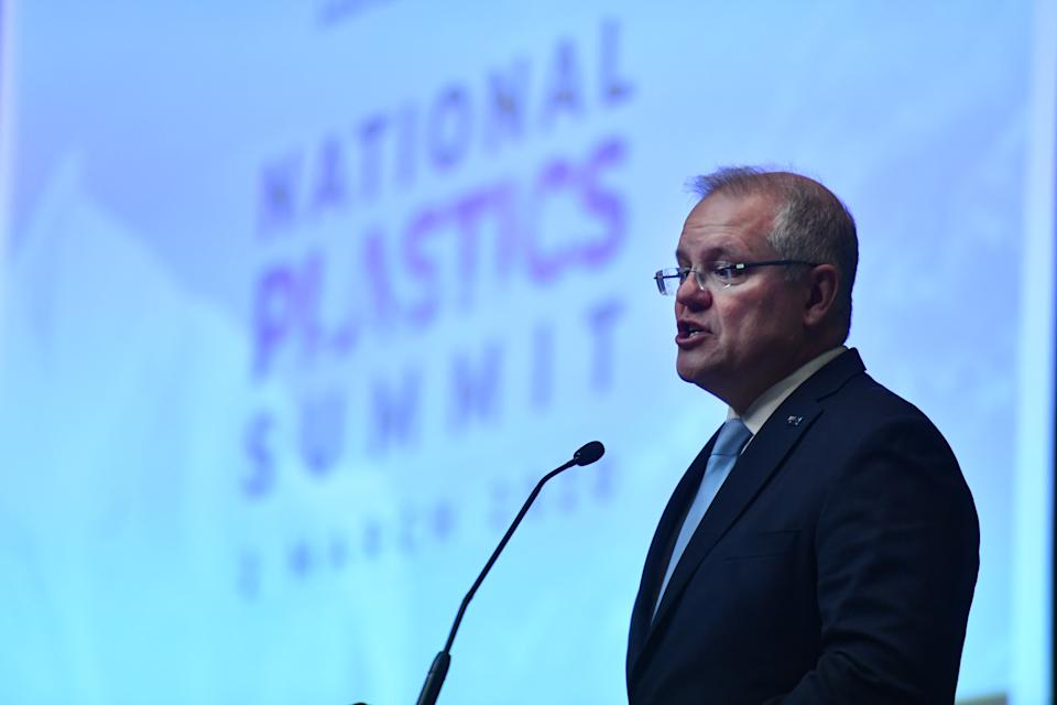 Prime Minister Scott Morrison at the National Plastics Summit on Monday. Source: AAP