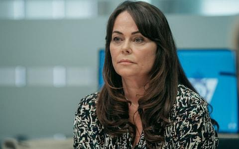 Polly Walker as Gill Biggeloe - Credit: BBC