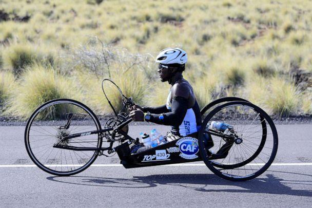 PHOTO: Roderick Sewell competed in the IRONMAN World Championship, which consisted of a 2.4-mile open water swim, a 112-mile bicycle ride, and a marathon 26.22-mile run on Oct, 12, 2019, in Kailua Kona. (Tom Pennington/Getty Images for IRONMAN)