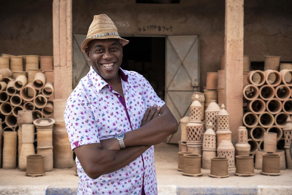 Ainsley Harriott at the Moroccan pottery workshop. (ITV/Robert Partis)