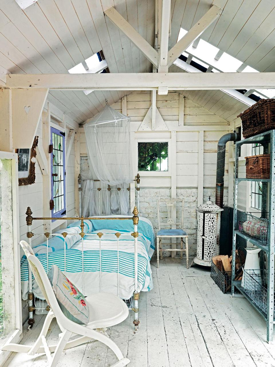 <p>When decorating a hideaway, it can be fun to opt for a more rustic scheme than your main home. A floor in brick, board or tiles is practical but can be offset with comfortable upholstered furniture, textiles and fabrics. If the interior is boarded, you can create different looks by painting it and introducing artworks or shelving, plus cupboards for storage. Or create a working area with a desk and chair or a potting bench to make a space for relaxing, as well as propagating and raising plants. <br></p>