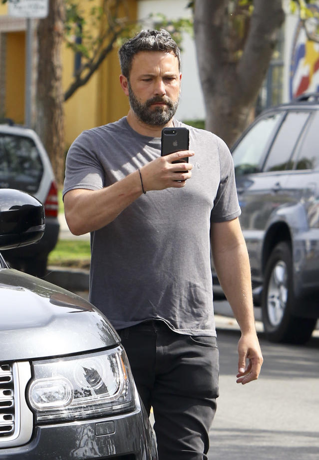 Ben Affleck records the paparazzi outside his Pacific Palisades, Calif., church on May 6, 2018. (Photo: Splash News)