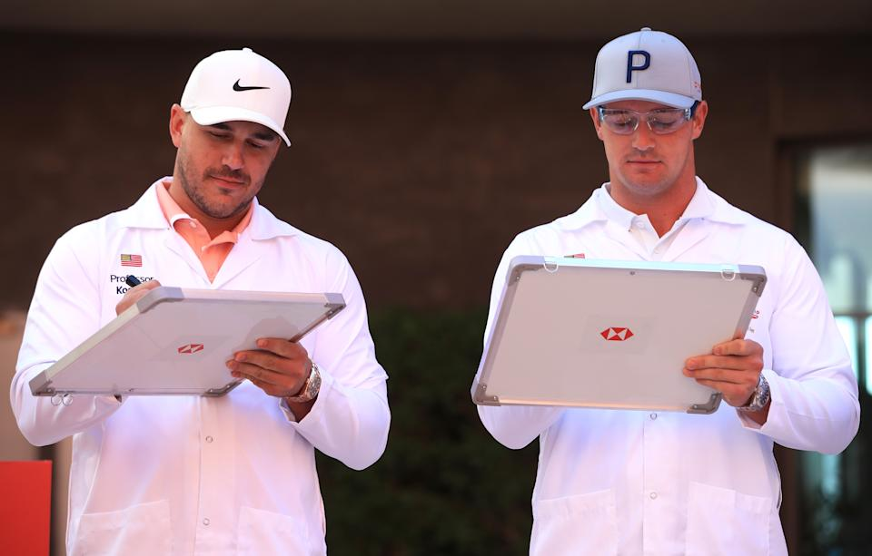 ABU DHABI, UNITED ARAB EMIRATES - JANUARY 14: Brooks Koepka and Bryson DeChambeau attend the launch The Abu Dhabi HSBC Championship Presented by EGA at Masdar City - a unique 'city of the future' in the United Arab Emirates on January 14, 2020 in Abu Dhabi, United Arab Emirates. (Photo by Andrew Redington/Getty Images)