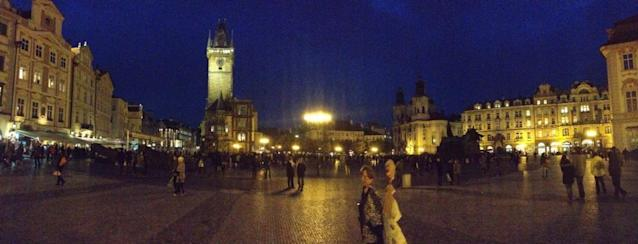 Old Town in Prague at nightfall. (#NickInEurope)
