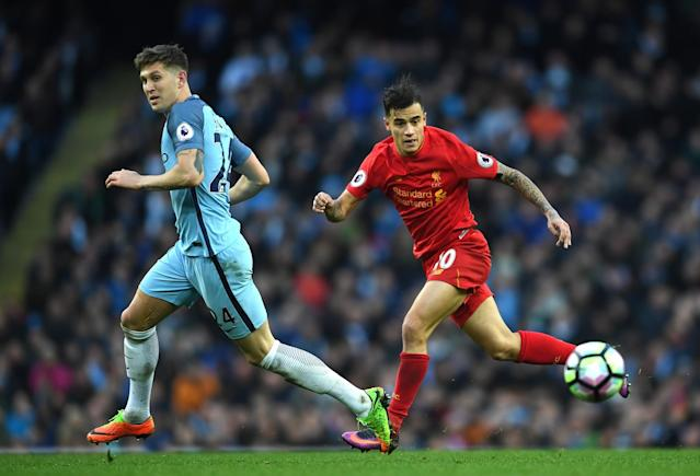 <p>Coutinho claims the ball in midfield </p>