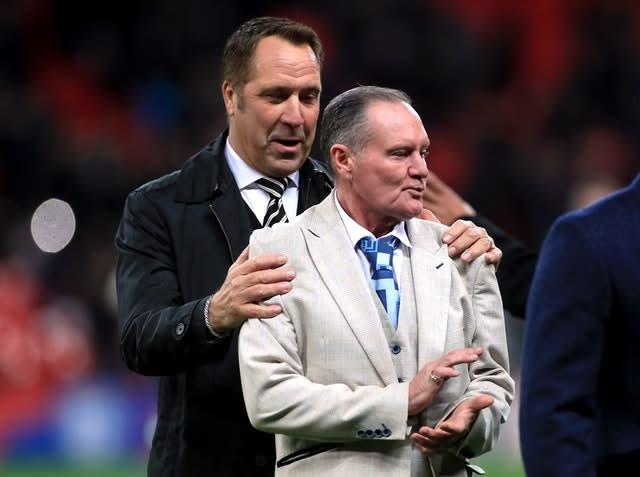 Former England players David Seaman, left, and Paul Gascoigne took to the pitch at half-time (Mike Egerton/PA)