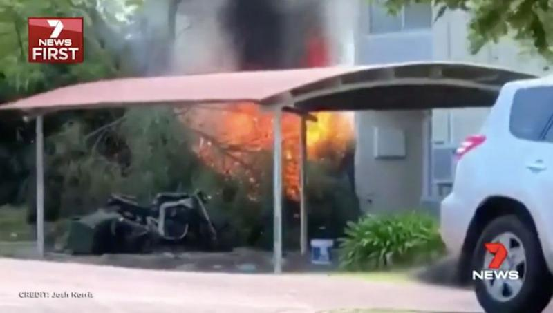 Blazing inferno: a fiery crash in the Perth suburb of Girrawheen. Source: 7 News