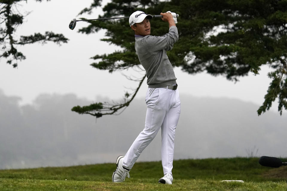 FILE - Collin Morikawa watches his tee shot on the 16th hole during the final round of the PGA Championship golf tournament at TPC Harding Park in San Francisco, in this Sunday, Aug. 9, 2020, file photo. His shot was the best of the year with a driver. (AP Photo/Jeff Chiu, File)