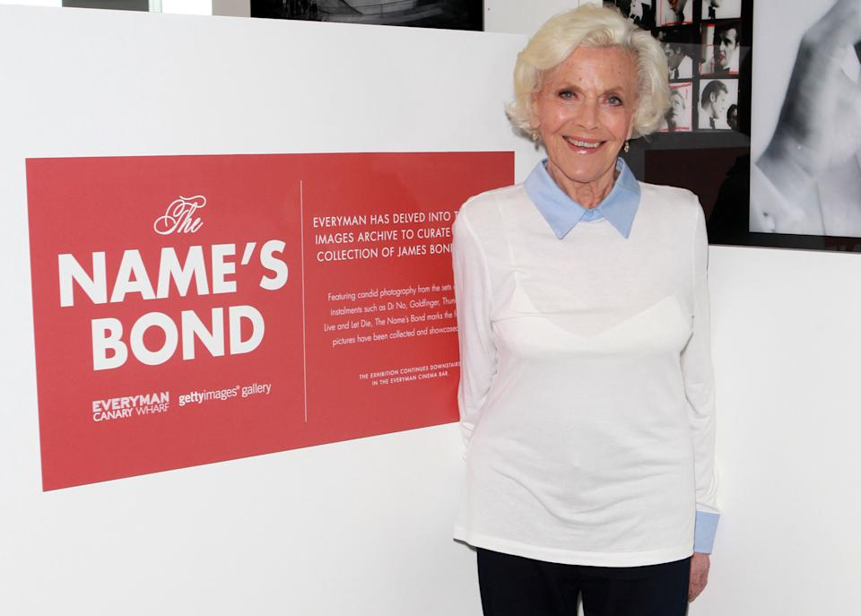 LONDON, ENGLAND - OCTOBER 30:  Honor Blackman visits 'The Name's Bond' exhibition at Everyman Canary Wharf raising funds for The Stroke Association on October 30, 2015 in London, England.  (Photo by David M. Benett/Dave Benett / Getty Images for Everyman Cinema)