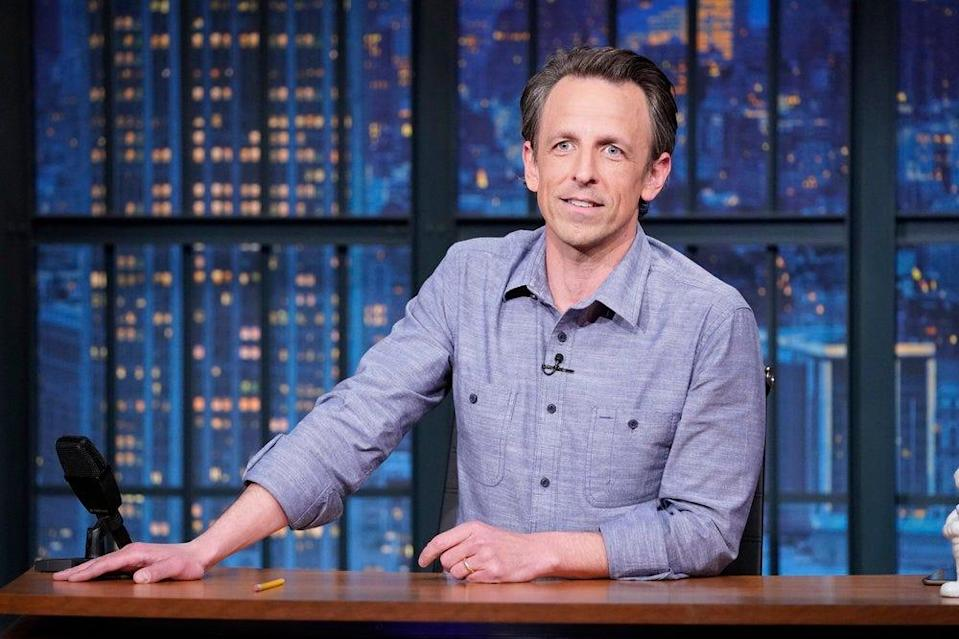 """Seth Meyers during the March 24 episode of """"Late Night with Seth Meyers."""""""
