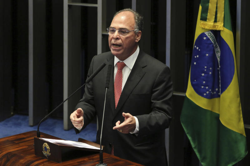 In this May 22, 2019 photo released by the government news agency Agencia Brasil, Senator Fernando Bezerra Coelho speaks during a session at the Senate in Brasilia, Brazil. Bezerra Coelho is one of the targets of a federal police operation into a possible kick-back scheme allegedly carried out when he was in the Cabinet of former President Dilma Rousseff, according to authorities on Thursday, Sept. 19. 2019. (Fabio Rodrigues Pozzebom/Agencia Brasil via AP)
