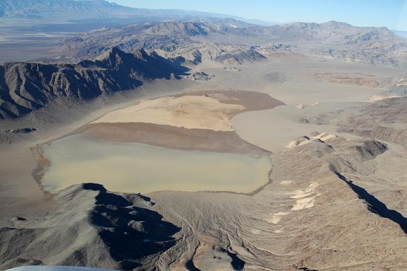 An aerial view of Racetrack Playa on Dec. 26, 2013. The pond in the southern third of the playa is a couple inches (a few cm) deep.