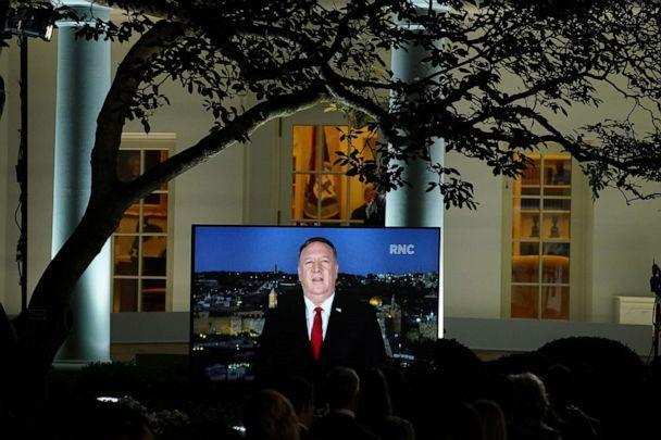 PHOTO: Secretary of State Mike Pompeo is seen giving his live address to the 2020 Republican National Convention from Israel on a monitor set up in the Rose Garden of the White House in Washington, Aug. 25, 2020. (Kevin Lamarque/Reuters)