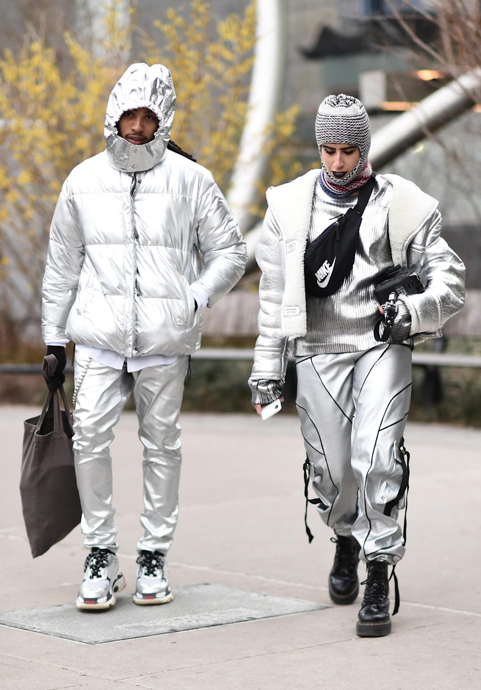 <p>Guests seen wearing silver outfits outside the Proenza Schouler show. <em>[Photo: Getty]</em> </p>