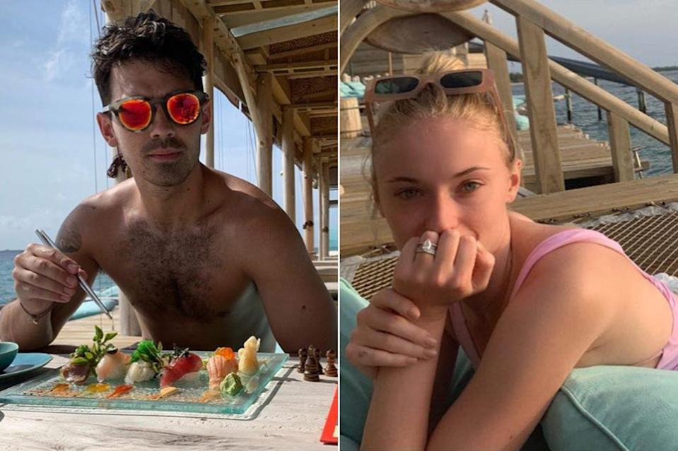 """<p><strong>Location:</strong> Maldives</p> <p>After their second wedding in France, the<em> Game of Thrones</em> star and the Jonas Brothers singer honeymooned at <a href=""""https://people.com/travel/inside-joe-jonas-and-sophie-turners-over-the-top-honeymoon-hotel-in-the-maldives-soneva-fushi/"""" rel=""""nofollow noopener"""" target=""""_blank"""" data-ylk=""""slk:one of the most exclusive resorts"""" class=""""link rapid-noclick-resp"""">one of the most exclusive resorts</a> in the world. Dubbed a """"desert island hideaway,"""" <a href=""""https://www.soneva.com/soneva-fushi/"""" rel=""""nofollow noopener"""" target=""""_blank"""" data-ylk=""""slk:Soneva Fushi"""" class=""""link rapid-noclick-resp"""">Soneva Fushi</a> feautures ocean-front suites, snorkling, scuba diving, top-notch cuisine and an on-site waterslide (much of which the newlyweds <a href=""""https://people.com/travel/inside-joe-jonas-and-sophie-turners-over-the-top-honeymoon-hotel-in-the-maldives-soneva-fushi/"""" rel=""""nofollow noopener"""" target=""""_blank"""" data-ylk=""""slk:shared on Instagram"""" class=""""link rapid-noclick-resp"""">shared on Instagram</a>).</p>"""