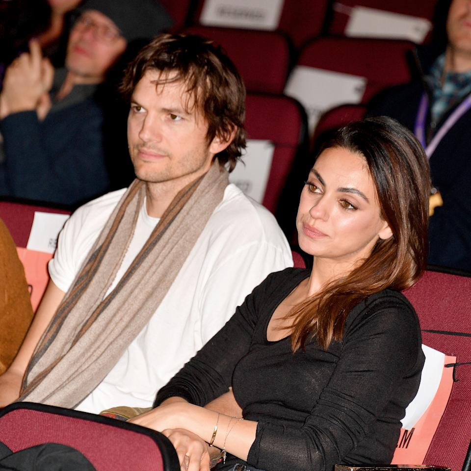 Ashton Kutcher and Mila Kunis, seen here in 2020, said they don't bathe their kids until they can