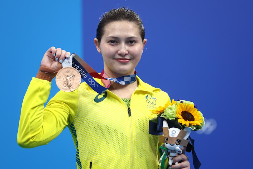 Seen here, Aussie diver Melissa Wu stands on the podium with her 10m platform bronze medal.