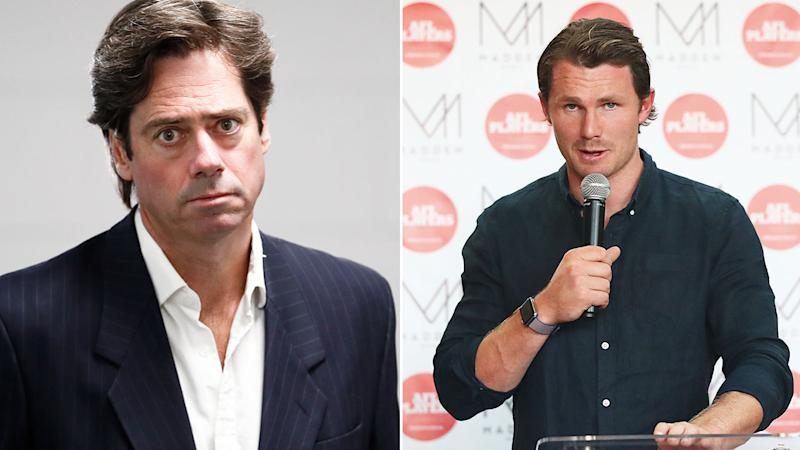 Pictured here, AFL CEO Gillon McLachlan and AFLPA president Patrick Dangerfield are locked in a heated pay dispute.