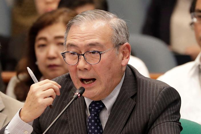 <p>Teodoro Locsin Jr during a senate hearing in Manila on 6 February, 2020. </p> (AP)