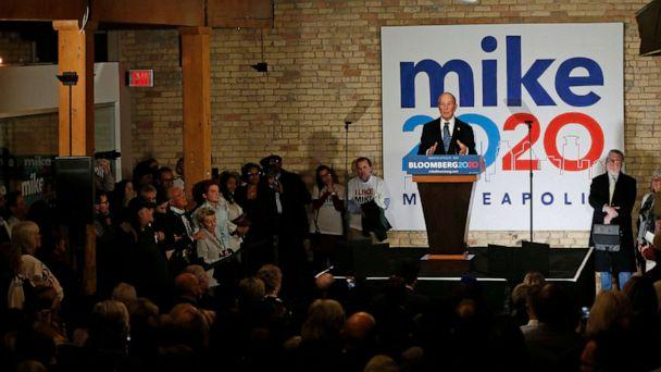PHOTO: Democratic presidential candidate Michael Bloomberg speaks to supporters in Minneapolis, Jan. 23, 2020, as he opens the first field office in Minnesota and meets with local community leaders and voters to share his vision for the country. (Jim Mone/AP)