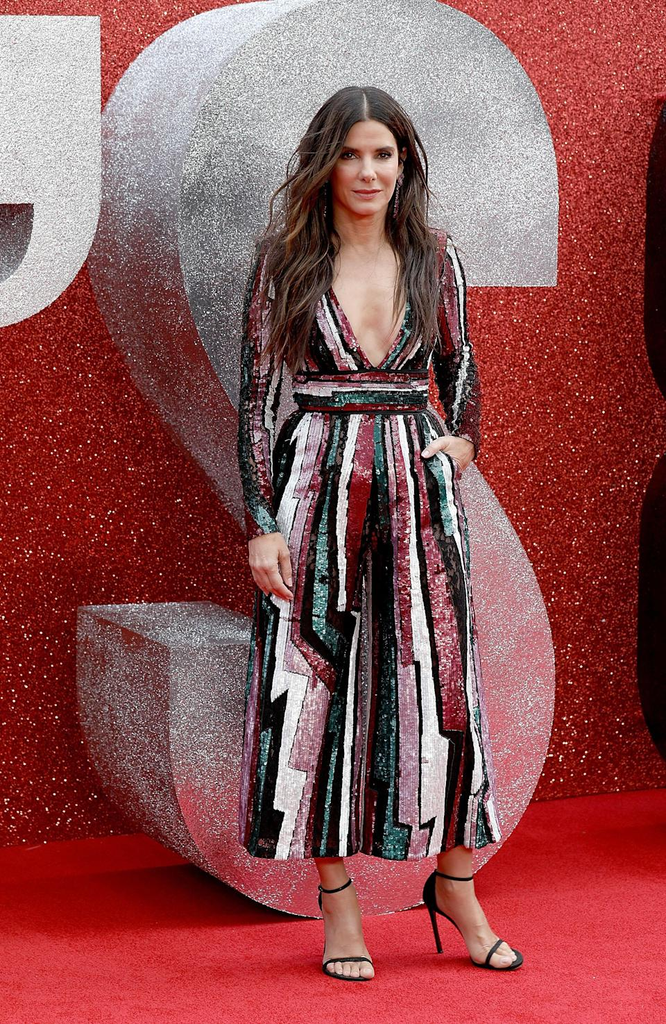 <p>The actress chose a sequinned Zuhair Murad gown for the premiere. <em>[Photo: Getty]</em> </p>