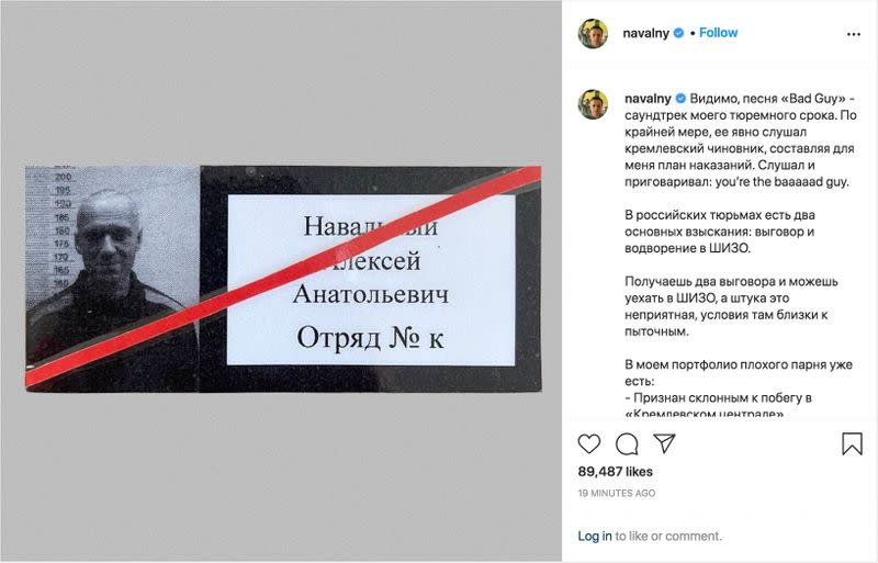 A screenshot of an Instagram post shows an undated photo of Russian opposition politician Alexei Navalny in an unknown location
