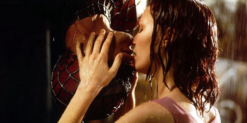 Tobey Maguire and Kirsten Dunst in 2002 superhero film 'Spider-Man'. (Credit: Sony)