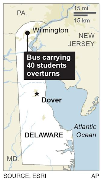 Map shows area where bus overturned; 1c x 3 inches; 46.5 mm x 76 mm;