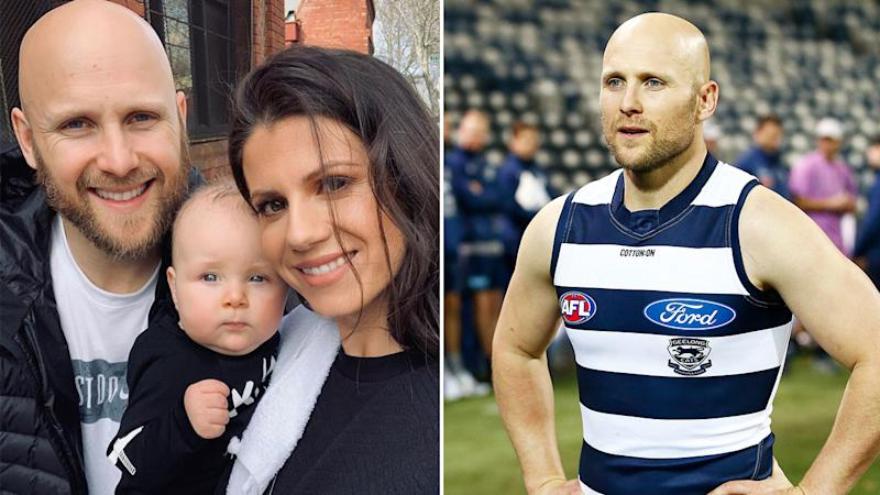 Pictured here, Gary Ablett, his wife Jordan and their son Levi.