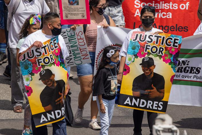 Protesters gathered after police shot and killed 18-year-old Andres Guardado in the back (AFP via Getty Images)
