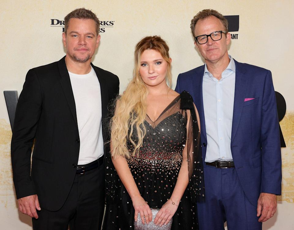 <p>Matt Damon, Abigail Breslin and Tom McCarthy pose at the <em>Stillwater</em> N.Y.C. premiere at Rose Theater in Jazz at Lincoln Center on July 26.</p>