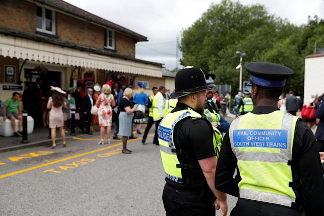 Horse Racing - Royal Ascot - Ascot Racecourse, Ascot, Britain - June 19, 2018 General view of police before the start of the races REUTERS/Paul Childs