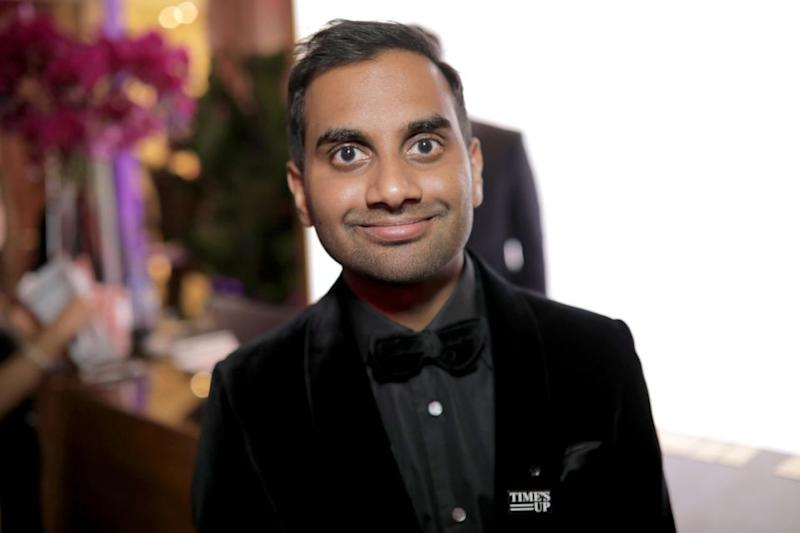 Aziz Ansari, here at the 2018 Golden Globes, has been accused of sexual misconduct by a woman he took on a date last year. Source: Getty