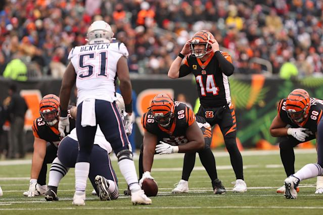 "CINCINNATI, OH - DECEMBER 15: Cincinnati Bengals quarterback Andy Dalton (14) calls a play during the game against the <a class=""link rapid-noclick-resp"" href=""/nfl/teams/new-england/"" data-ylk=""slk:New England Patriots"">New England Patriots</a> and the Cincinnati Bengals on December 15th 2019, at Paul Brown Stadium in Cincinnati, OH. (Photo by Ian Johnson/Icon Sportswire via Getty Images)"