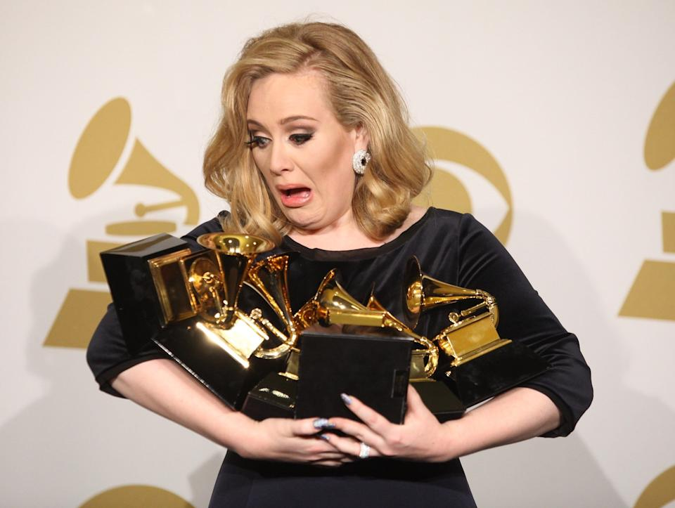 Winning six Grammy Awards in 2012 including Album of the Year, equalling the record for most Grammy Awards won by a female artist in one night.