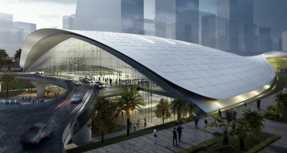 Artist impression of the HSR terminus in Jurong East by Farrells. (Source: LTA)