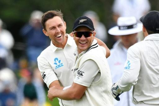 New Zealand's Trent Boult (left) is congratulated by teammate Neil Wagner during his six-wicket burst