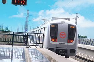 BOMBARDIER MOVIA metro car operating on Delhi Metro's network.